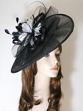 New Church Derby Wedding Pleated Fascinator Dress Hat Headband 2450 Black/White
