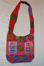 HOBO Shoulder Bag Cell Pocket PURSE Hippy Embroidered FLOWERS RED BROWN LIME