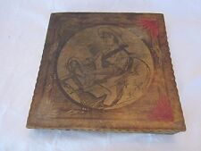 Wood antique hankie box. Flemish design of girl driving car on top of box.