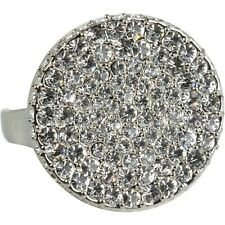 VINCE CAMUTO Pave Crystal Silver-Tone Two-Finger Ring - Size 7-8  $58