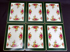 6 OLD COUNTRY ROSES PLACE /SETTING MATS, CORK BASE, GOOD CONDITION, ROYAL ALBERT