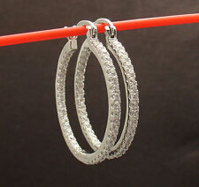 "1 1/4"" Prong Set Clear Zircon CZ Inside Out Round Hoop Earrings Brass"