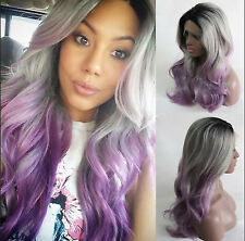 Heat resistant Lace front wig Synthetic hair Body wavy Ombre 1B/Gray/Lavender
