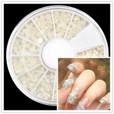 new Wheel Case Nail Art Decoration Pearl acrylic gem tips White Case fit DIY