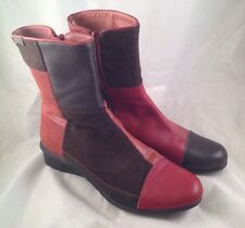 Camper Twins Ankle Boots Womens 39 7.5-8 Patchwork Red Brown Burgundy Cranberry