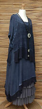 LAGENLOOK*KEKOO*OVERSIZE LAYERING QUIRKY 2 PCS DRESS+OVERTOP*NAVY BLUE*Sz XL-XXL