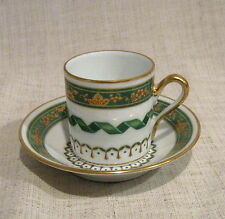 6 Richard Ginori Pincio Green Demitasse Cups and Saucers