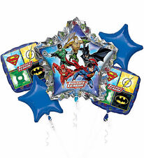 Justice League Super Heroes 5 Balloon Bouquet Birthday Party Supplies Decoration