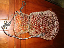 """Vintage Wire Mesh Fish Basket Minnows Crayfish Collapsible 22"""" Long w/Rope"""