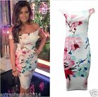 WOMENS CELEBRITY INSPIRED DRESS LADIES BADOT FLORAL MIDI BODYCON PARTY DRESS