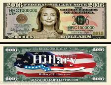 Hillary Clinton 2016 Presidential $1 Million Dollar Collectors/Banknote/Bill