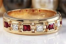 1.00 CTW Natural Red Ruby and Diamonds in 14K Yellow Gold Men Ring