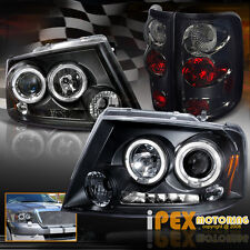 2004-2008 F150 Black Dual HALO Projector Headlights W/ Smoke Euro Tail Lights