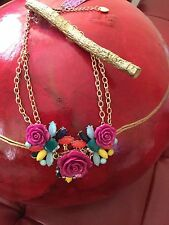 Colossal Betsey Johnson Floral Necklace-Hot Pink