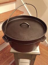 """UNMARKED LODGE OR LIKENESS TO CAST IRON 12"""" CAMP DUTCH OVEN! CLEANED SEASONED!"""
