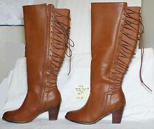 """size 13 wide Torrid brown rear-lace zipper knee boot 3-1/2"""" heel - 031b"""