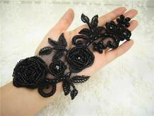 Bridal Crystal Applique Black Beaded Motif Diamante Trim Wedding Accessories