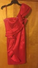 Jessica Simpson Red Ruffle One Shoulder Short Taffeta Dress Size 12
