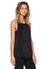 THEORY Montien Black Fringed Front Silk Sleeveless Round Neck Blouse Tank Top L