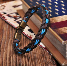 NEW Surfer Handmade Hemp&Leather Braided Mens Wristband Bracelet Cuff with Clasp