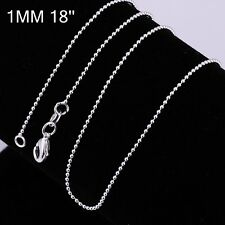 New Lady/Men's 925 Silver Filled 1mm Beads Chain Necklace AU STOCK For Pendants