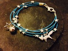 Silver Plated Star Cord Bracelet Pendant Charms Christmas Fox Blue