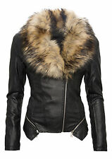 Ladies Faux Leather Jacket Between season Biker With Fur Collar Artificial D-69
