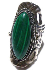 SIZE 7.75 VINTAGE X-LARGE MEXICO MEXICAN STERLING SILVER MALACHITE POISON RING