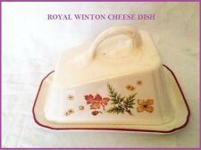 STUNNING! Large ROYAL WINTON LARK RISE Cheese DISH Leaves Flower Patterns