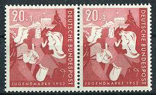 Bund 154 waagerechtes Paar postfrisch Bundesjugendplan BRD 1952 MNH