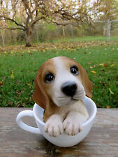 Beagle Puppy Dog in a Cup Decoration Gift Resin 5.75 in. New  beegle Teacup