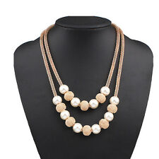 New Fashion Women Double Layer Faux Pearl Ball Choker Statement Pendant Necklace