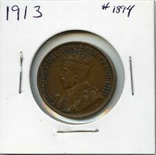 1913 1C BN Canada Large Cent. Almost Uncirculated ++.  Lot #1587