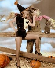 """GALE ROBBINS HALLOWEEN AMERICAN ACTRESS & SINGER 8x10"""" HAND COLOR TINTED PHOTO"""