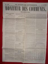 JOURNAL LE MONITEUR DES COMMUNES MINISTERE DE L'INTERIEUR N° 17 - 24 AVRIL 1856
