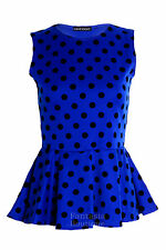 Womens Polka Dot Spot Print Frill Peplum Ladies Sleeveless Skater Vest Top 8-14