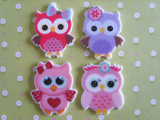 4 x Cute Mixed Owl Flatback Resin, Embellishment, Crafts,Cabochon **UK Seller**
