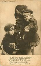 Postcard Van Huis Verdreven Poem about displaced sad Dutch Children with kitten
