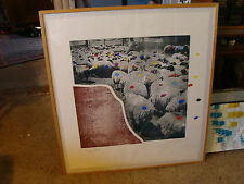 large 30 x 34 Framed Signed Art: MENASHE KADISHMAN sheep print 11/65