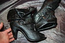 Escarpins guêtre cheville Rock punck chaussure ajourée bride Cloutée Noir P 39