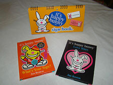 3 HAPPY BUNNY BOOKS - SIGN BOOK - ASTROLOGY - LOVE BITES -VERY GOOD CONDITION