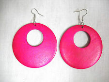 NEW LARGE HOT FUSCIA PINK STAINED REAL WOOD DANGLING ROUND FLAT HOOP EARRINGS