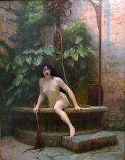 Beautiful Oil painting nice naked young woman - The Truth out of the well canvas