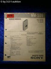 Sony Service Manual WM 509 Cassette Player (#0679)