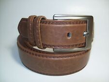 "Men Brass Color Buckle 1 1/2 Width Brown leather belt 38"" #1650B"