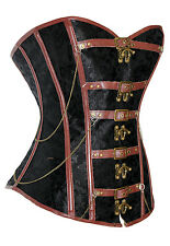 Steampunk Gothic Black & Brown Brocade & faux leather corset basque UK 14-16