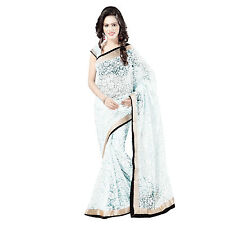 Indian Party Wear Gold Zari & Black Velvet  Border White Brasso Sari with Blouse