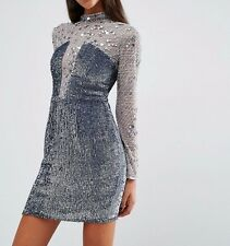 BRANDED NIGHT High Neck Embellished Mini Evening Dress Silver UK 16/EU 44/US 12