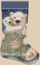 Counted Cross Stitch POLAR BEARS CHRISTMAS STOCKING - COMPLETE KIT  #4-11