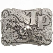 Custom Western Style Silver Belt Buckle Initials Letters